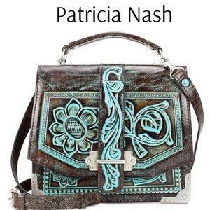Patricia Nash Stella Turquoise Tooled Shoulder Bag
